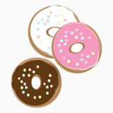 Three delicious doughnuts. Overhead view of three different delicious doughnuts on a plate with chocolate, pink and white icing and sprinkles, illustration on a Stock Photo