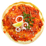 Overhead view of tomato Lahmacun Stock Image