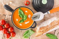 Overhead view of a Tomato soup Royalty Free Stock Image