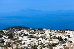 Overhead View of Town of Anacapri. Aerial view of the seaside town of Anacapri, Italy Royalty Free Stock Image