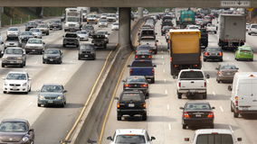Overhead View of Traffic on Busy Freeway in Downtown Los Angeles California