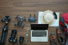 Overhead view of Traveler accessories Royalty Free Stock Photo