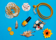 Overhead view of Traveler's accessories, Essential vacation items, Summer concept background. Overhead view of Traveler's accessories, Essential vacation items Royalty Free Stock Photos
