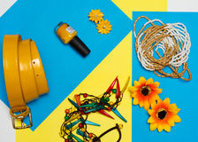 Overhead view of Traveler's accessories, Essential vacation items, Summer concept background. Overhead view of Traveler's accessories, Essential vacation items Stock Photography