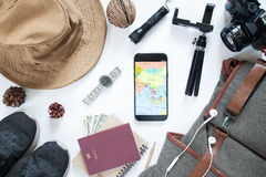Overhead view of traveler`s accessories, Essential vacation Stock Photos
