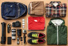 Overhead view of traveler`s accessories, essential vacation items, travel concept background.  stock photos