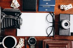 Overhead view of Traveler`s accessories, Travel concept background. stock photo