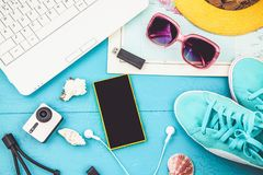 Overhead view of Traveler`s accessories Travel plan, trip vacation, tourism mockup Instagram looking image of travelling concept. Royalty Free Stock Photography