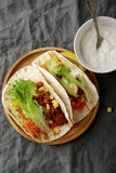 Overhead view of two mexican Tacos with ground beef and vegetabl Stock Photo
