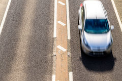 Overhead View of UK Motorway Road Sunny Day royalty free stock photography