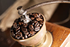 Overhead view of a vintage coffee grinder Royalty Free Stock Photography