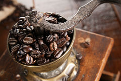 Overhead view of a vintage coffee grinder Stock Image