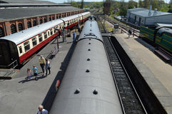Overhead View of vintage trains at Bluebell Railway Royalty Free Stock Images