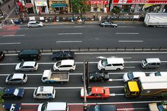 Overhead view of wide Tokyo street Stock Photos