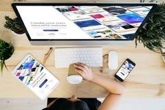 overhead view responsive design website builder stock images