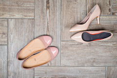 Overhead view of woman's shoes Royalty Free Stock Photos