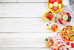 Overhead view of wood slat table with candy Stock Photography