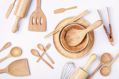 Overhead view of wood utensils, Flat lay photography of wood kit royalty free stock photos