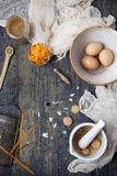 Overhead view of a wooden table with ingredients for preparing a carrot cake Stock Photography