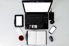 Overhead view of a work station Royalty Free Stock Image