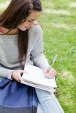 Overhead view of a young girl sitting in a park with her school Royalty Free Stock Photo