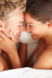 Overhead view of young intimate couple Stock Photos