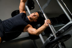 Overhead View of Young Man Weight Lifting Royalty Free Stock Photo