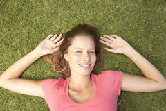 Overhead View Of Young Woman Stock Photo