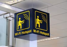 Wi-fi hotspot sign. Royalty Free Stock Photo