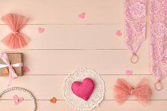 Overhead woman essentials, fashion bride pink set Royalty Free Stock Photography