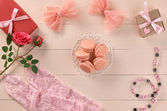 Overhead woman essentials, fashion bride pink set Stock Images
