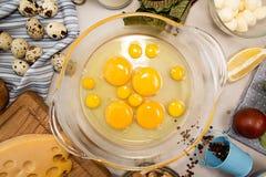 Overheadkosten van vegeterian het dieetmaaltijd van ingrediëntenfrittata quishe b.v. Stock Afbeelding