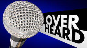 Overheard Buzz News Rumor Gossip Microphone Stock Photos