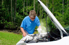 Overheated smoking broken down car trouble Stock Image