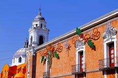 Overheidspaleis en kerk, Tlaxcala Royalty-vrije Stock Foto's