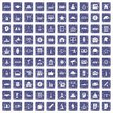 100 overheidspictogrammen geplaatst grunge saffier Royalty-vrije Stock Afbeeldingen