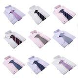 Overhemden en stropdassen die op wit worden geïsoleerd Stock Afbeeldingen
