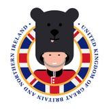 Overhemdsdruk De Koninklijke wacht Bearskins van Londen stock illustratie