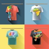 Overhemdsinzameling met gekleurd embleem met driehoeken wordt geplaatst die Stock Afbeelding