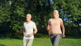 Overjoyed aged couple jogging in the park. Every day in motion. Cheerful delighed aged couple smiling and jogging in the park while leading a healthy lifestyle stock video