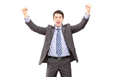 Overjoyed businessman gesturing with hands Stock Photo