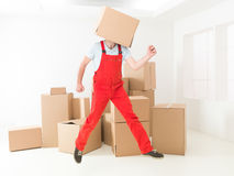 Overjoyed delivery man Royalty Free Stock Photo