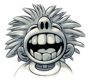 Overjoyed laugh. Cute crazy boy with big teeth and wild hair style is laughing out loud Stock Images