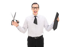 Free Overjoyed Man With A Cut Tie Holding Scissors Royalty Free Stock Photo - 45631165