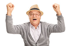 Overjoyed mature man gesturing happiness Royalty Free Stock Photo