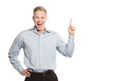 Upphetsad peka för businessperson fingrar på utrymme för text. Arkivbild