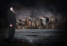 Overklig affärsman, affärsman, apokalyps arkivfoton