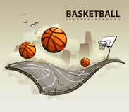 overklig basketdomstol Arkivbild