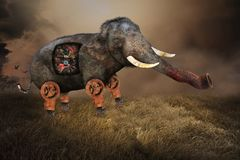 Overklig elefant, industriella maskindelar stock illustrationer