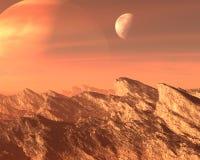 Overklig främmande planet, månebakgrund arkivbild